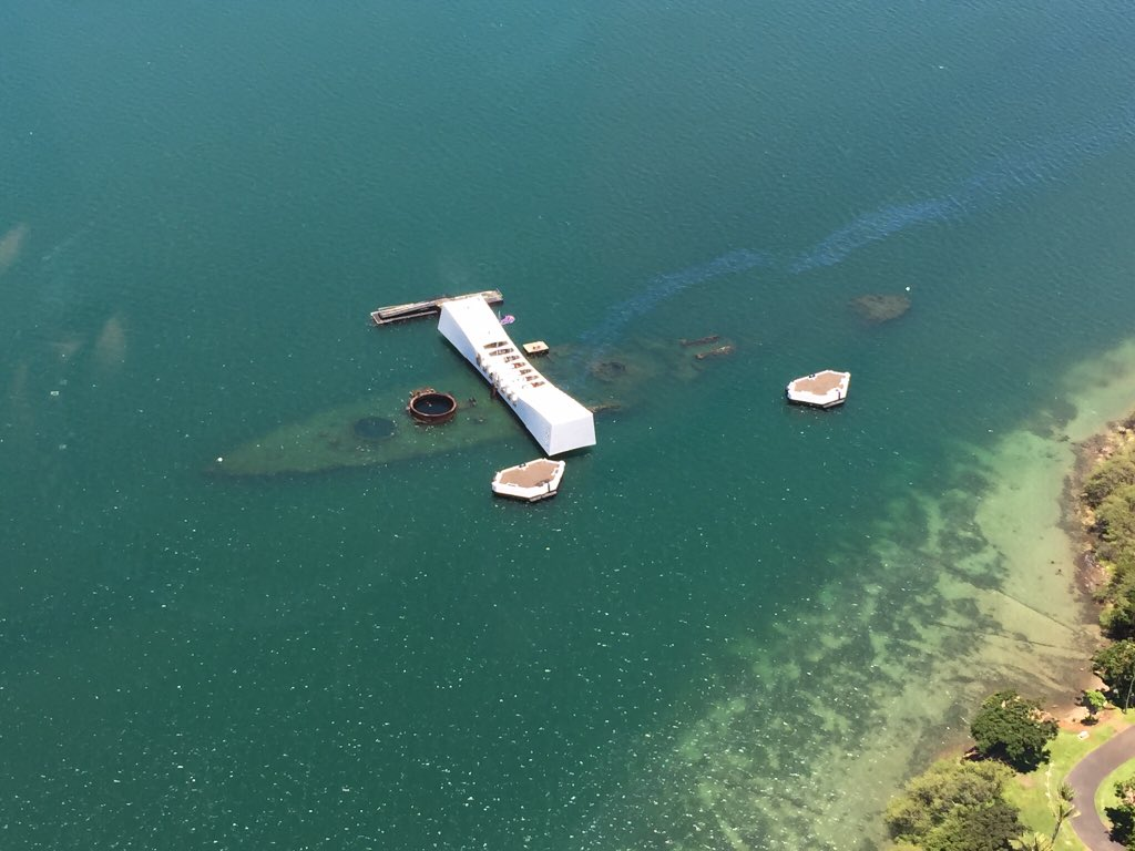 I took this pic when we flew over #PearlHarbor It's like the oil that still leaks is her tears for those lost.