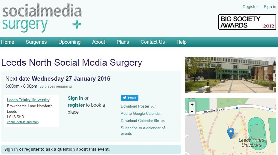 Thanks to fab volunteers we're giving free Social Media help once a month in 2016 @LeedsTrinity Sign up & join in :) https://t.co/4fuOEZPEOD