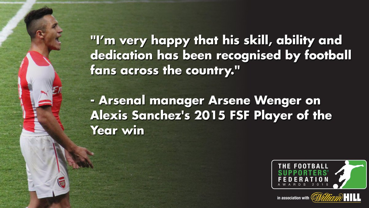The 2015 FSF Player of the Year award goes to @Arsenal forward Alexis Sanchez! More winners announced later today. https://t.co/RUnsSD5l2K