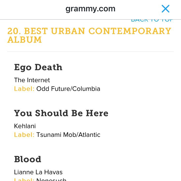 "We just got nominated for a Grammy! Congrats Kehlani ""You Should Be Here"" mixtape Best Urban Contemporary album"