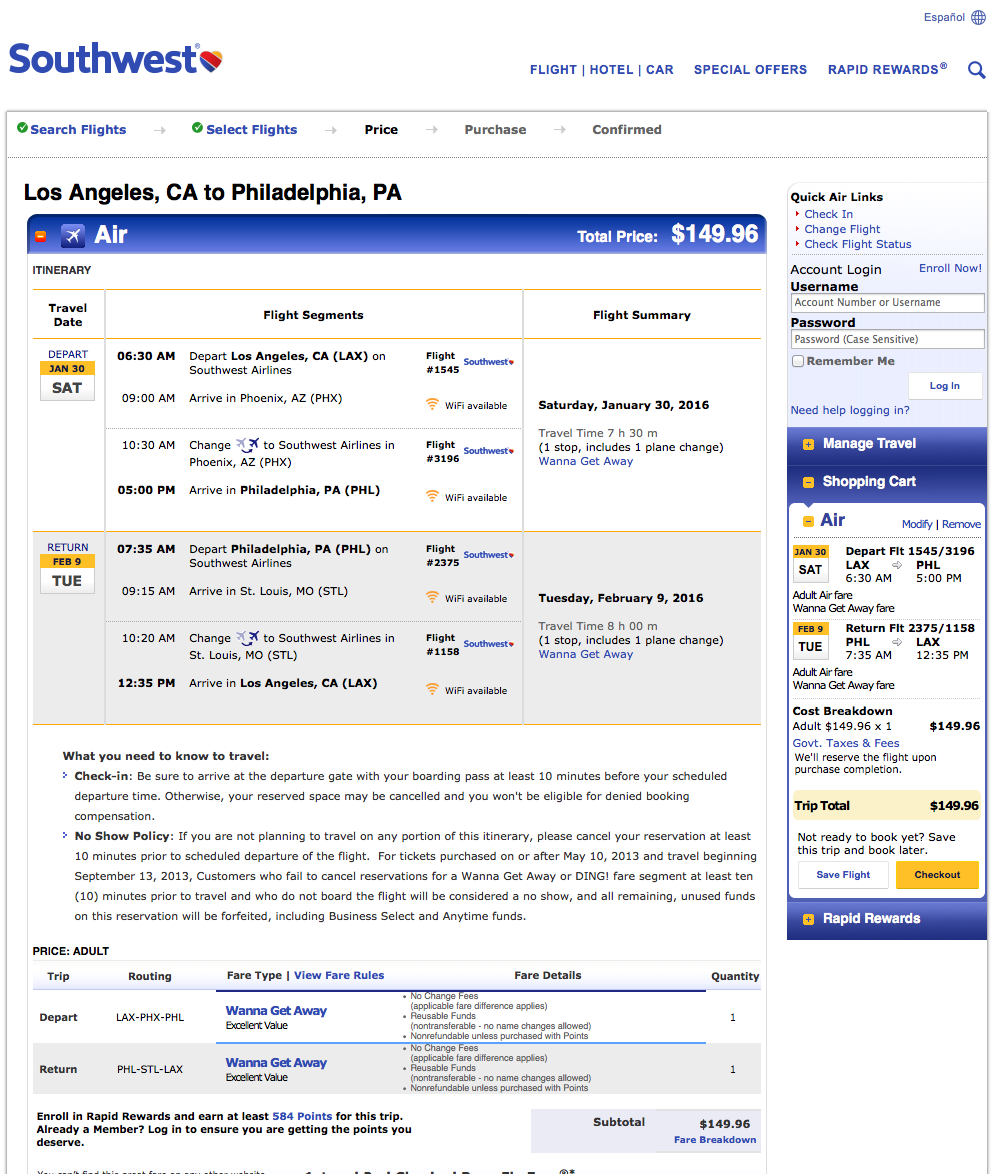 RT @airfarewatchdog: Los Angeles LAX to Philadelphia PHL $150 round-trip on @SouthwestAir
