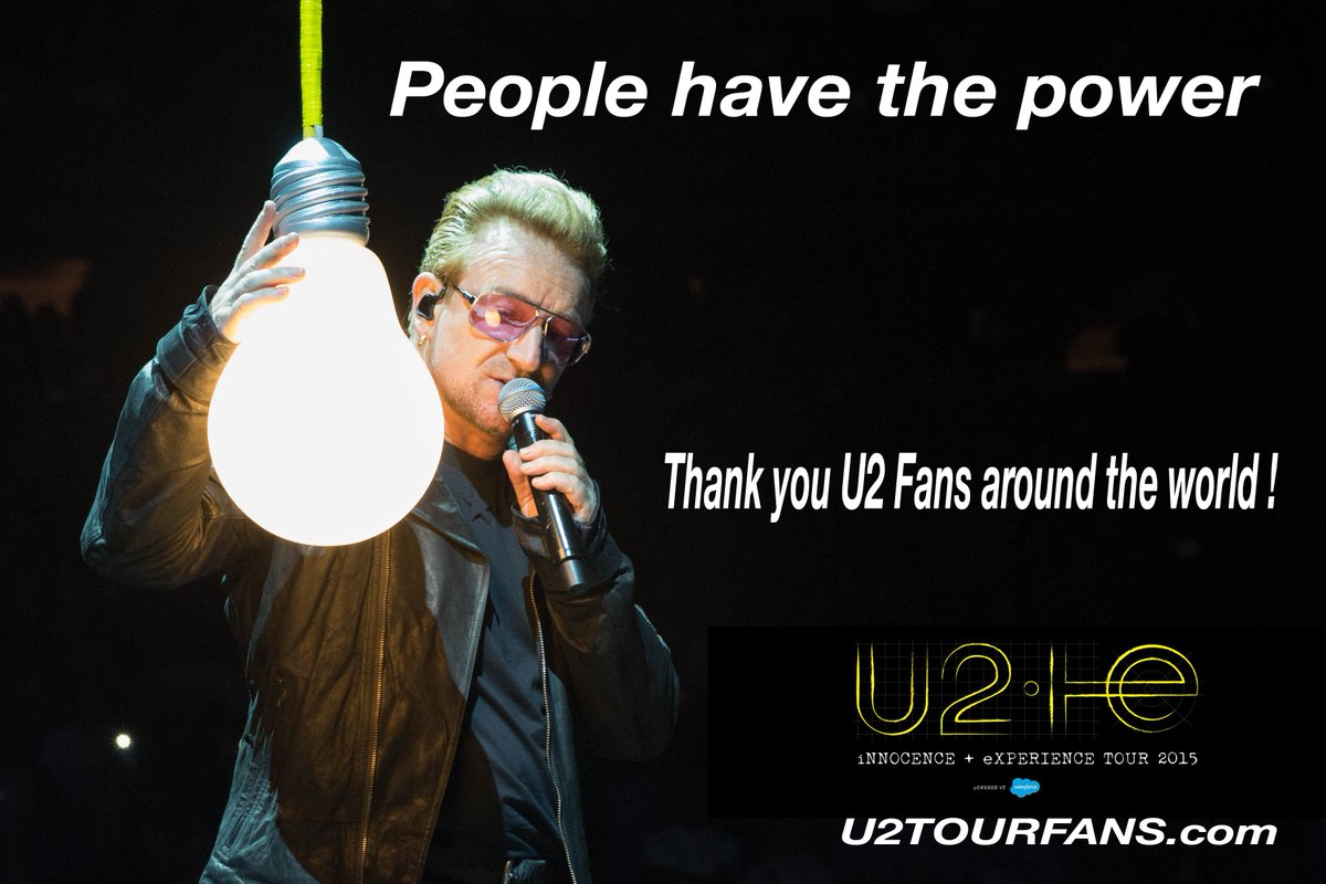 Thank you @U2  Fans around the world ! We love you all ! We have the power ! Believe and Achieve #U2ieTour https://t.co/uqJ8rGnCqW