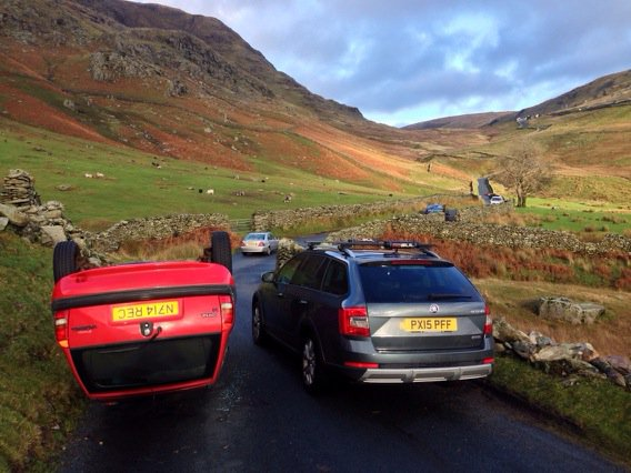 The Struggle Kirkstone Pass yest overturned car & loads abandoned https://t.co/io6gRwaygh