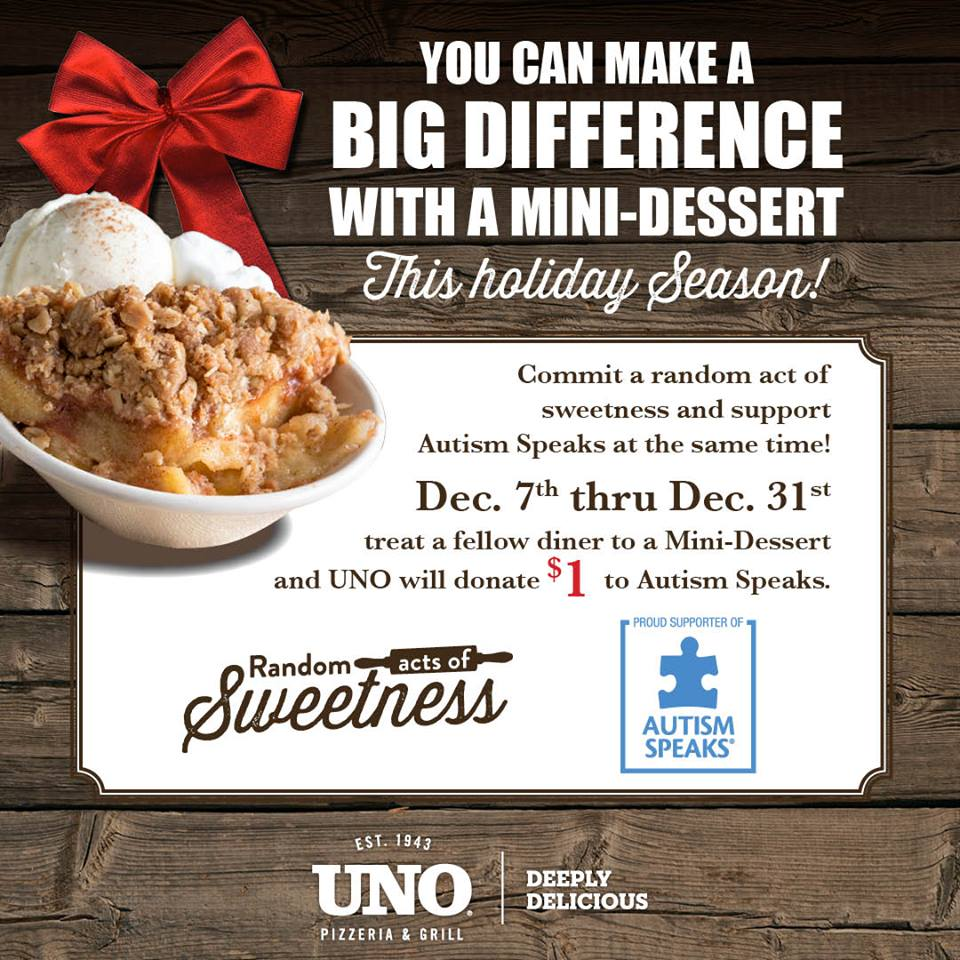 Commit a Random Act of Sweetness! Treat a fellow guest to a mini-dessert and we'll donate $1 to Autism Speaks! https://t.co/viBhNsGL7H