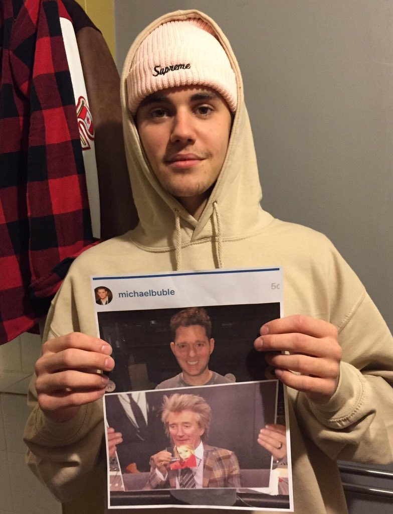 Okay- now this is getting REALLY awesome @justinbieber holding @michaelbuble holding @rodstewart holding me. OMG https://t.co/7Pi4zvA3rJ