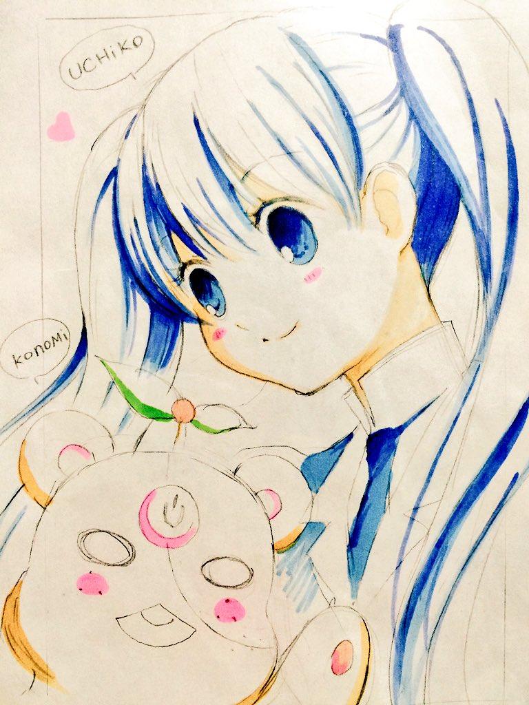 そしてなんと森島先生  が手描きのイラストをくださったのです、ユリ熊嵐の亜依撃子とメカこのみちゃん!(*・(ㅅ)・)人(