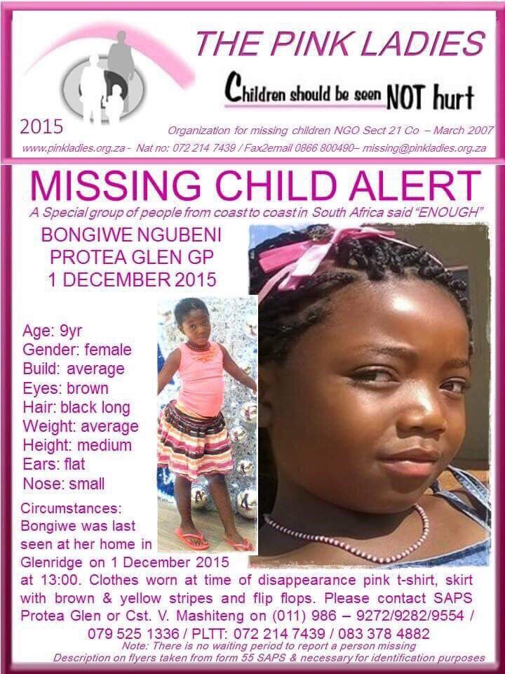 It's been 7 days since #BongiweNgubeni went missing... She still has not been returned home. Please RT https://t.co/KItWcOVuBD
