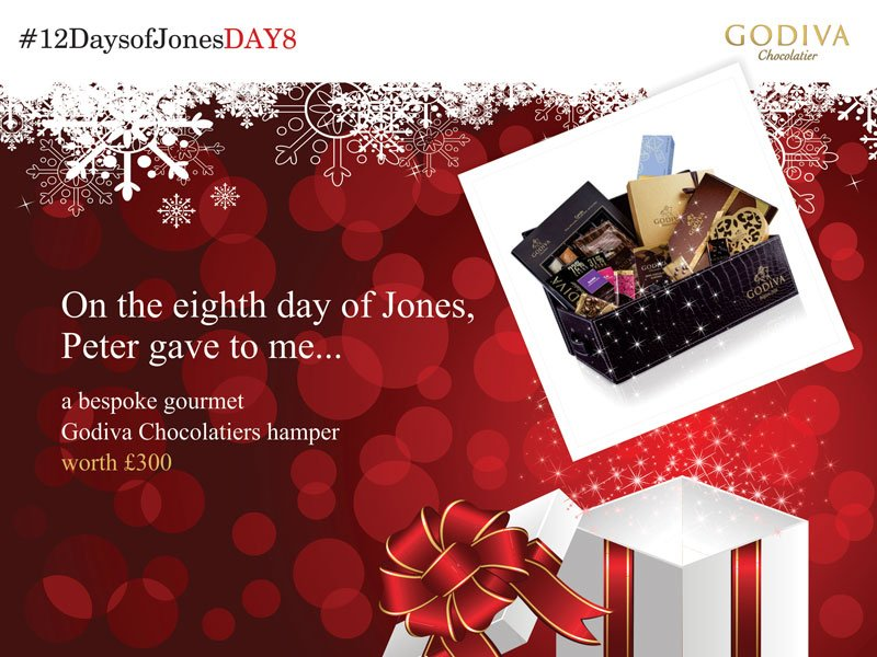 Today's present is an incredible hamper from @GodivaUK its the perfect present in time for Christmas #12DaysofJones https://t.co/SMhNjbnsK6