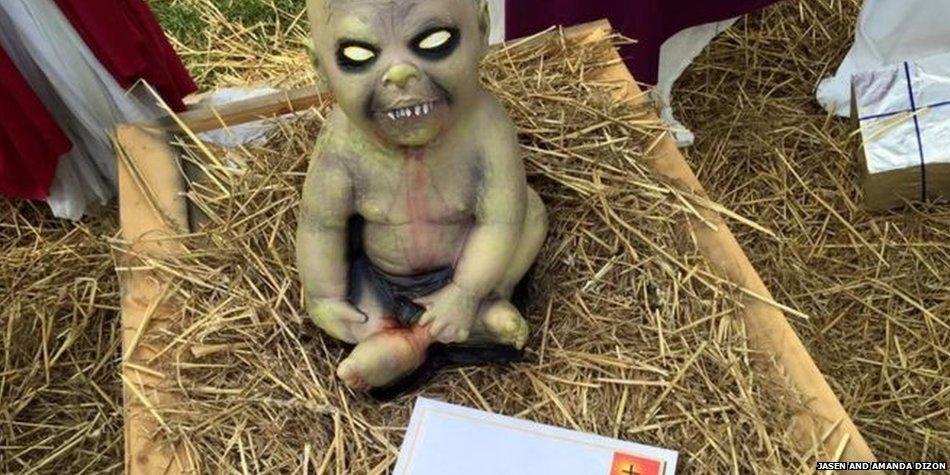 US couple refuses to remove zombie-themed nativity scene with demonic baby Jesus