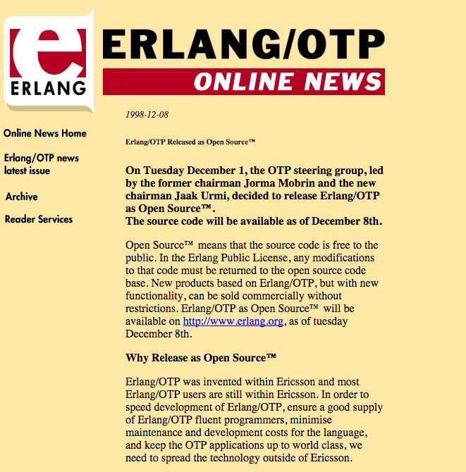 17 year anniversary of #Erlang going #opensource ! @ErlangSolutions was founded 1 year after https://t.co/9RN1gXhnnJ https://t.co/pf81U50nAU