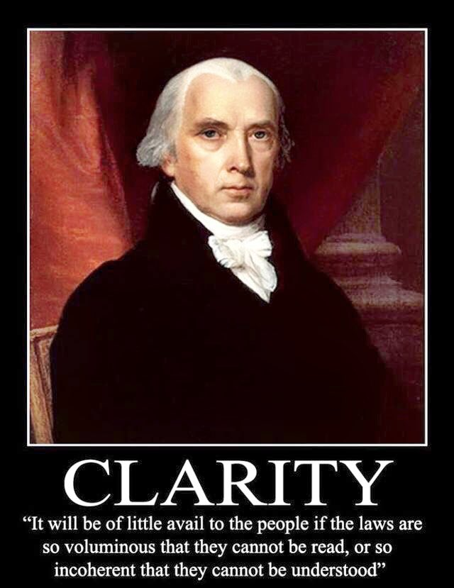It will be of little avail...if the laws be so voluminous that they cannot be read- James Madison #ESSA #ESEA https://t.co/Lh4191h1ej
