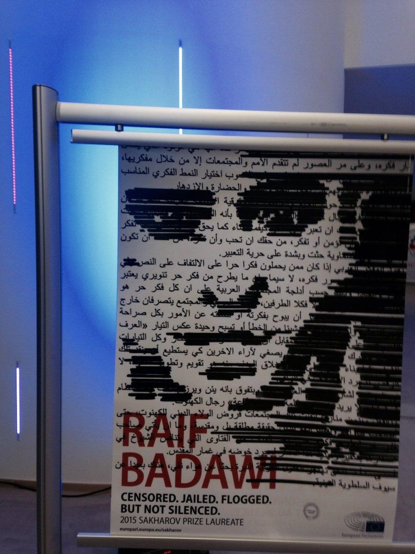 Posters if heroic Saudi journo Raif Badawi Sakharov Prize Laureate everywhere in European Parliament https://t.co/g7KCDNepIw