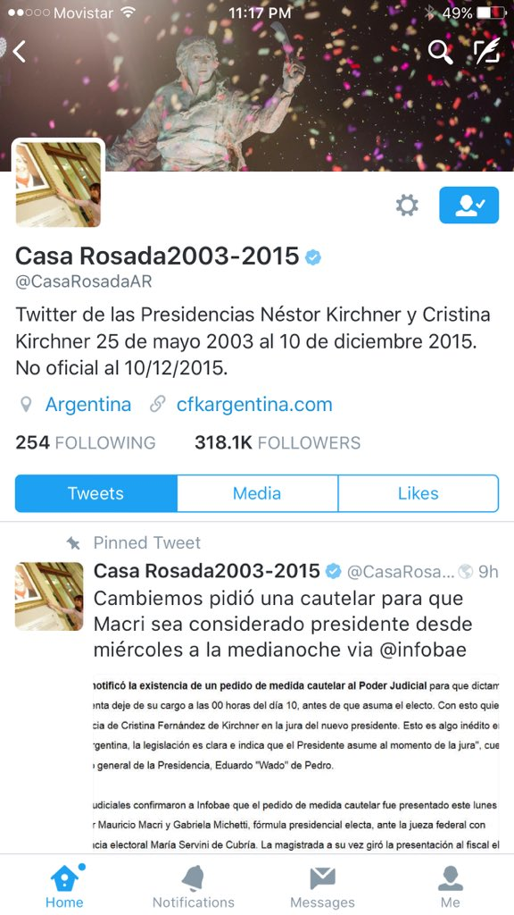 Hacked? This can't be true. Kirchner trying to take the official @CasaRosadaAR Twitter account for herself? https://t.co/ll7U11QwJB
