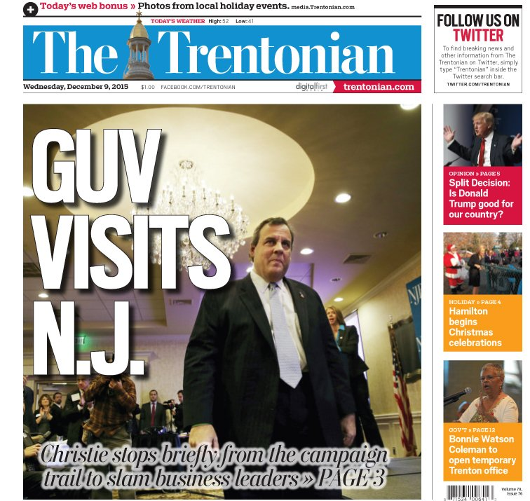 Early look at tomorrow's @Trentonian front page, which takes tongue-in-cheek to an amazingly awesome new level. https://t.co/H7njMOYHES