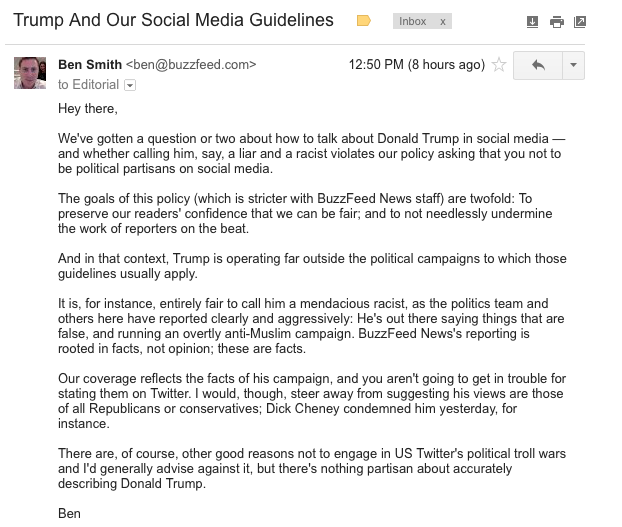 Here's a memo I sent to @buzzfeed staff today on our social media policy, and Donald Trump https://t.co/zCiDds3C29