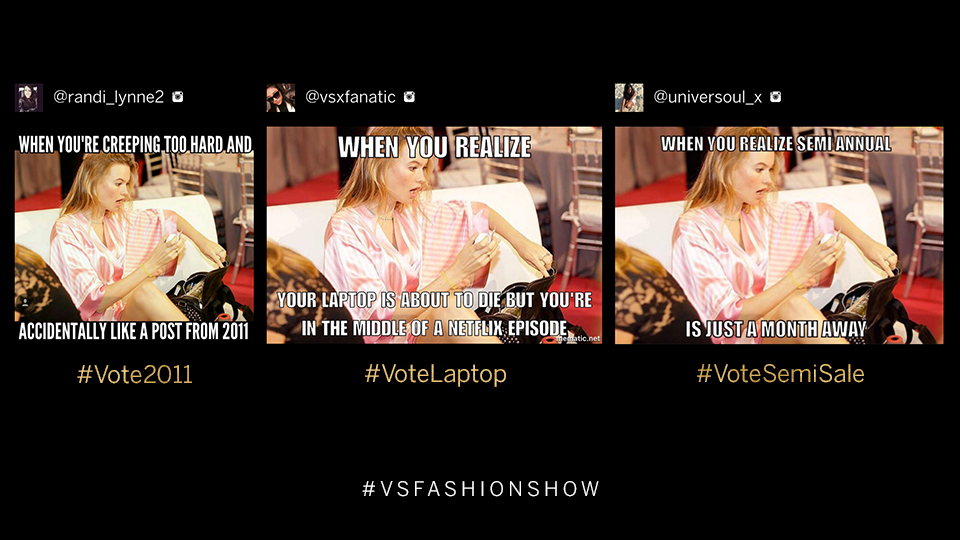 Final #MemeThis! Tweet to VOTE for ur fave meme: #Vote2011, #VoteLaptop OR #VoteSemiSale? #VSFashionShow https://t.co/xUZq5Qv2y8