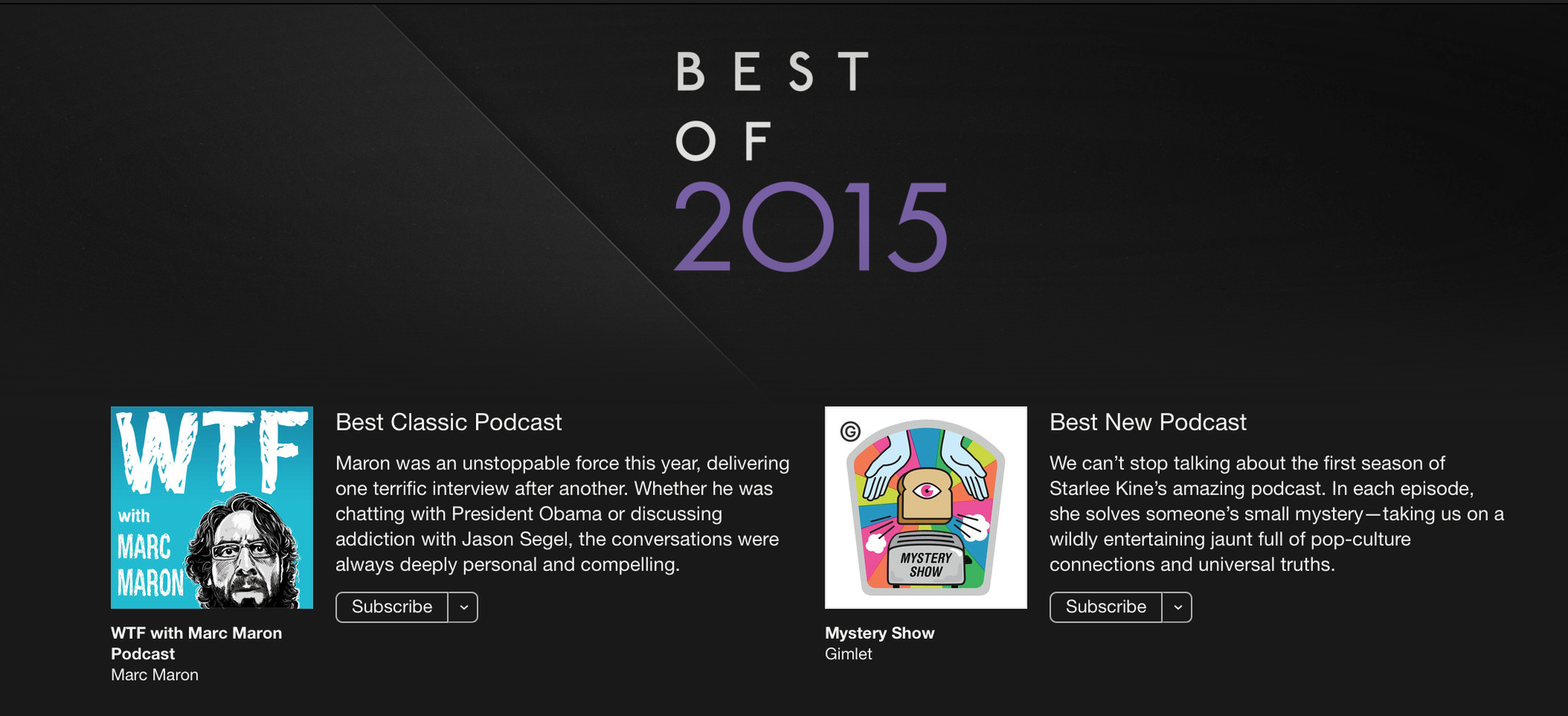 Proud @MysteryShow is iTunes best new podcast of 2015! Sharing stage w/@marcmaron. Wow! @Gimletmedia https://t.co/yHRatZQzhQ