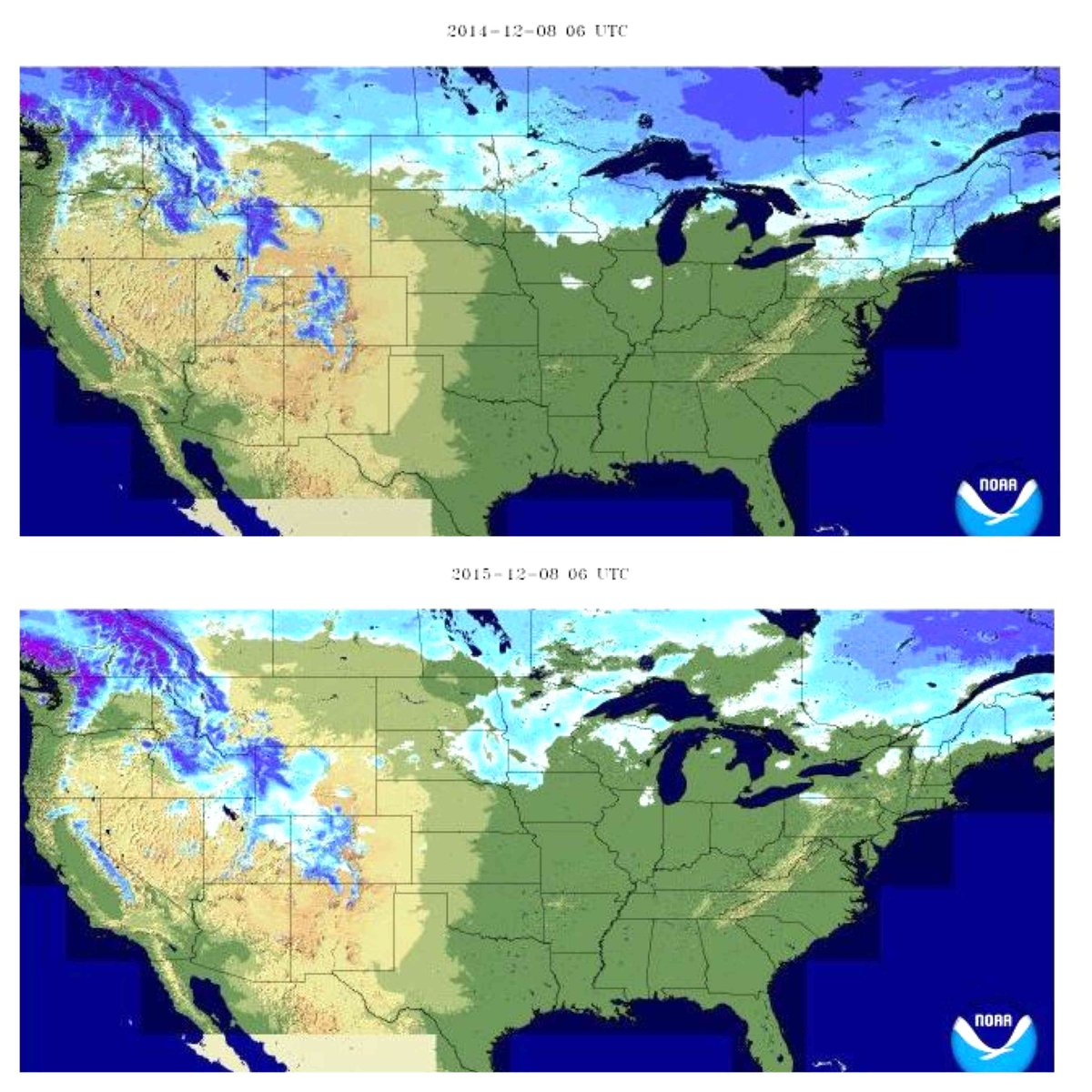 Check out the difference a year & El Niño makes.  Last year's snow depth at this time on top vs this year.  #ElNino https://t.co/bVJDBZxzBk