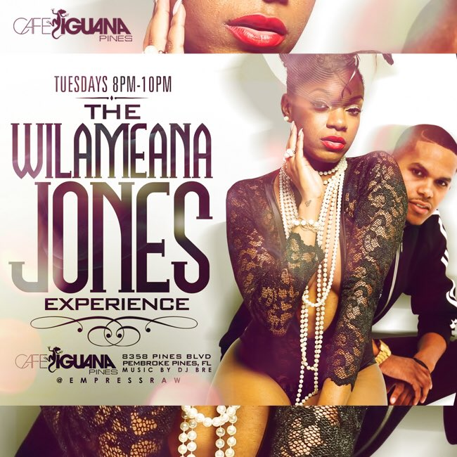 #TheWilameanaJonesExperience with @EmpressRaw - Tuesday (8-10pm) Cafe Iguanas now https://t.co/rB3vbR5amw