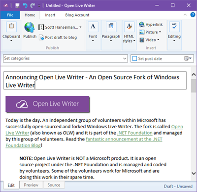 ANNOUNCEMENT: Microsoft Live Writer open sourced! Kudos to internal OSS advocates!  https://t.co/7oUHnUMUPd https://t.co/WPZrJGXw67