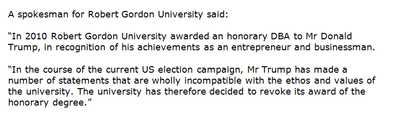 New statement about Donald Trump's honorary degree: https://t.co/mMJt9qXNOv