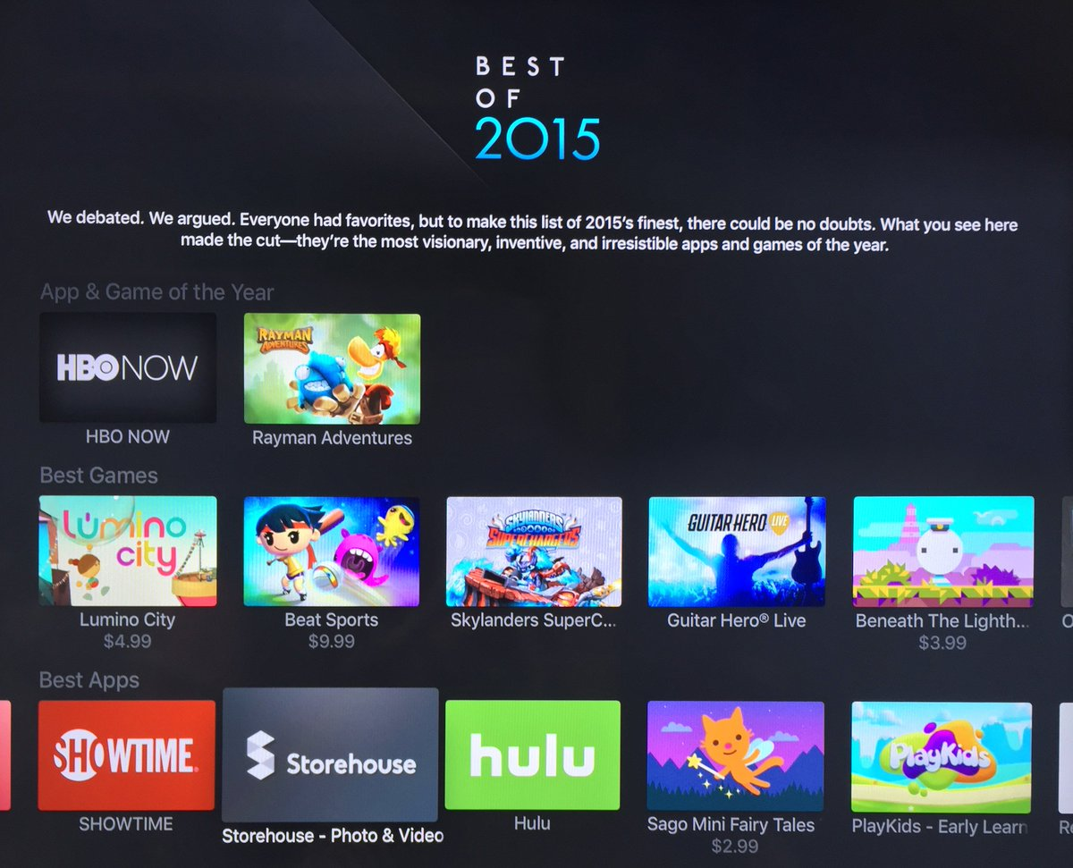 Super stoked to see that @storehousehq made #7 of the best Apple TV apps of 2015! https://t.co/eqhITNUkw9