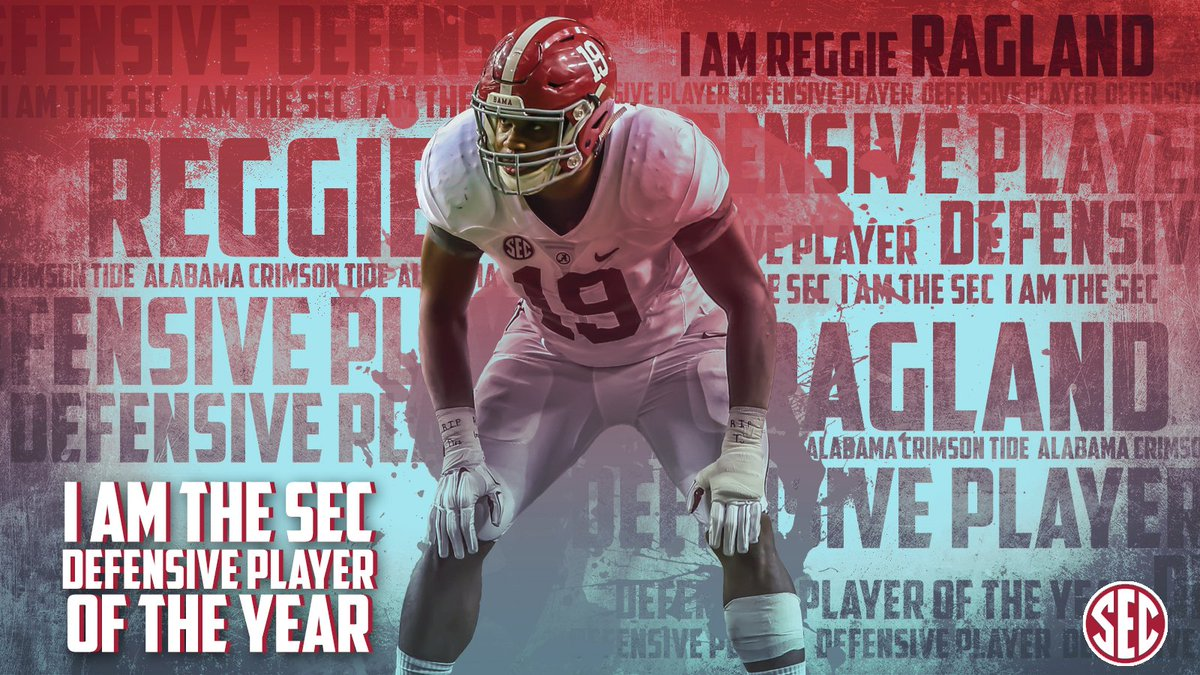 REGGIE RAGLAND is the 2015 #SEC Defensive Player of the Year.  #RollTide https://t.co/hYvG2p71gl https://t.co/C7hCfm8KjB