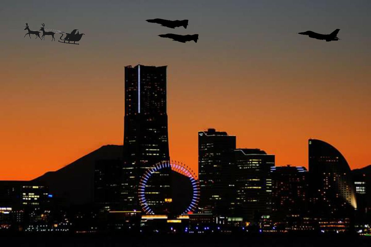 サンタ特別措置法に基づきサンタを迎撃する空自機に対し、迎撃をやめるよう説得に当たるアメリカ空軍機 https://t.co/az5YIz6NrD