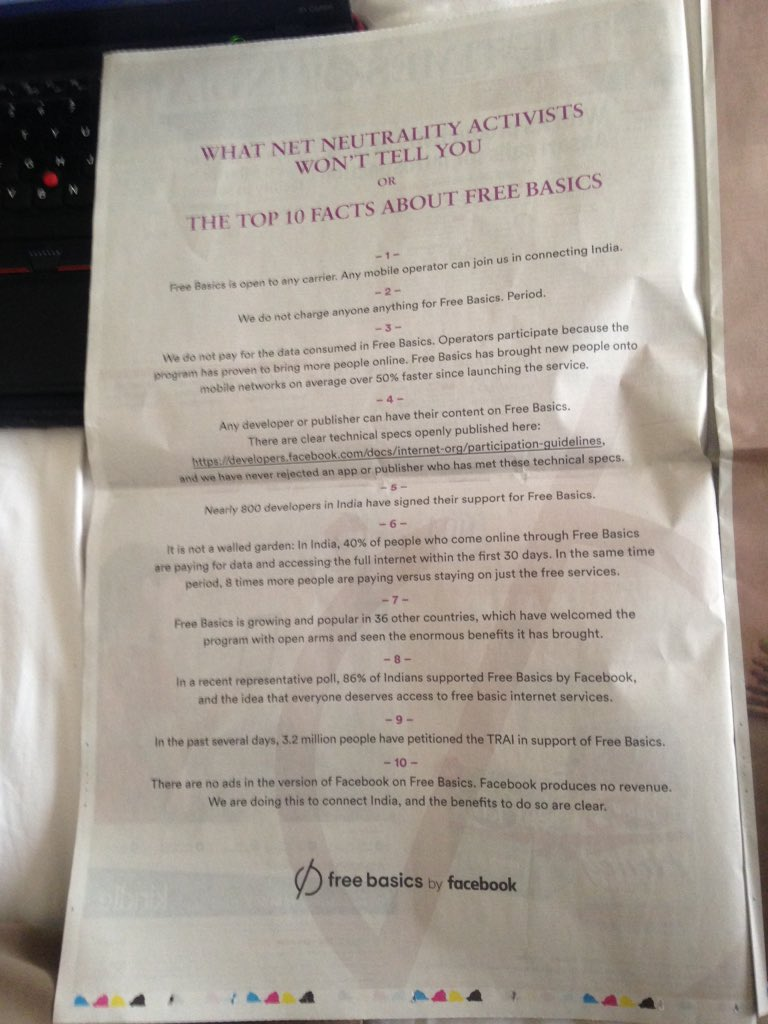 """Facebook's double-page ad in Times of India is quite the thing / (""""What net neutrality activists won't tell you"""" !!) https://t.co/vMduqH36P9"""