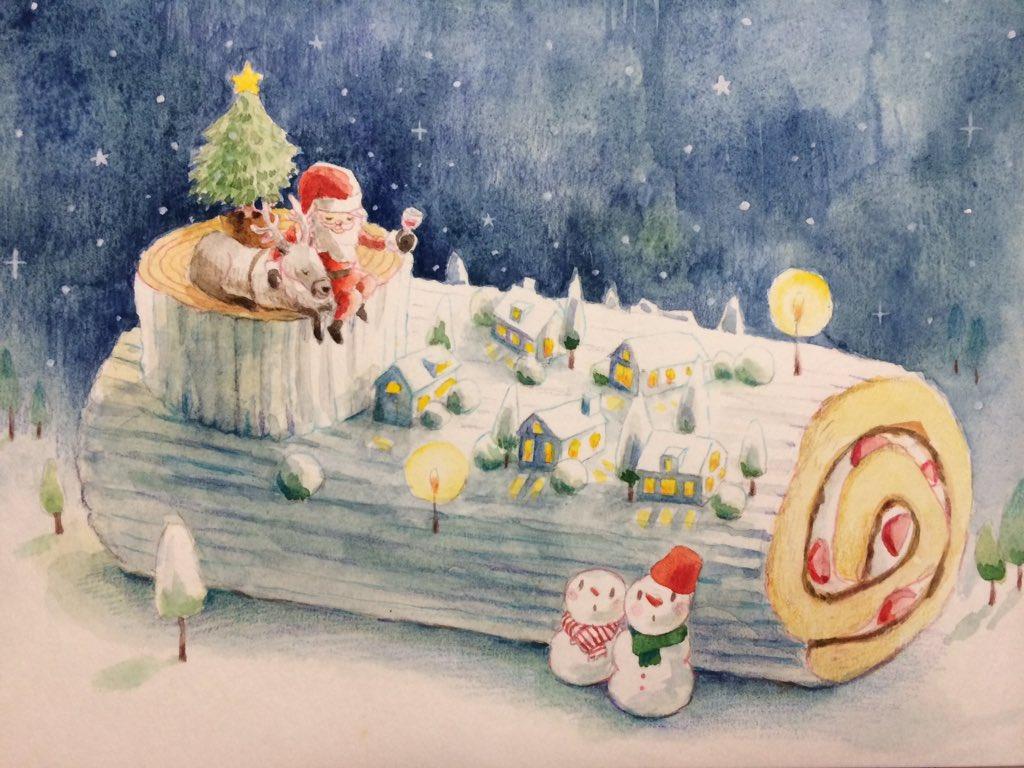 Merry Christmas!! ちょうど今日会社で白いロールケーキをいただきました。 https://t.co/nqNw29LMJI