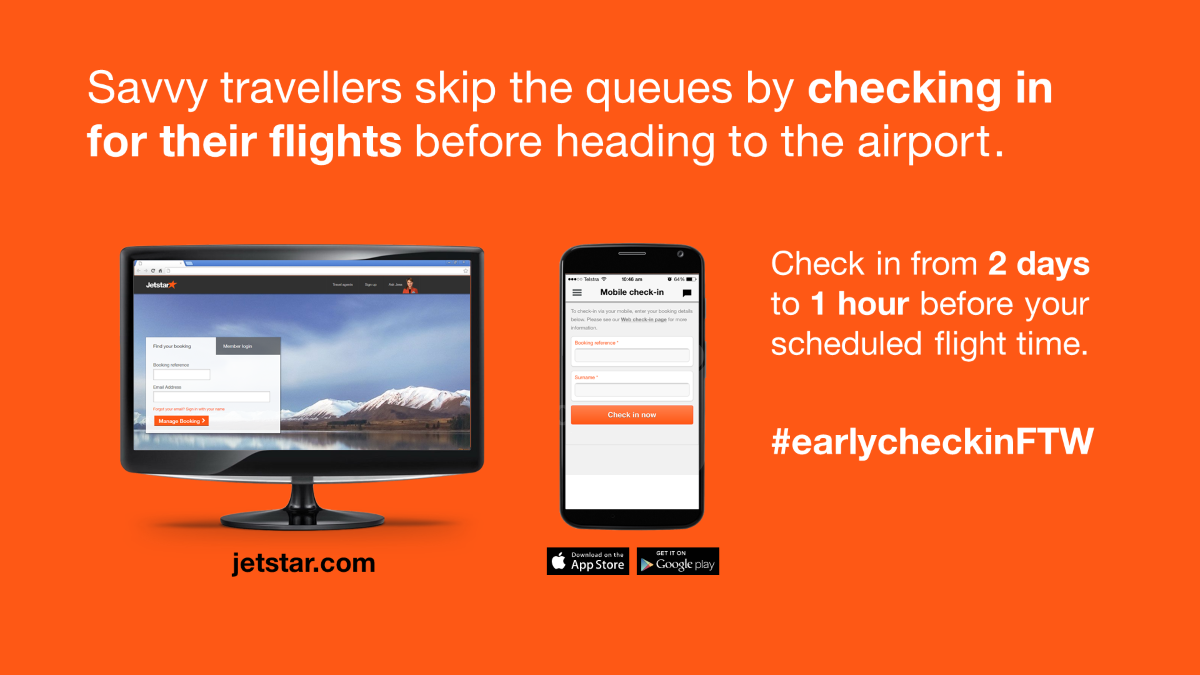 Skip the queues by checking in for your flights *before* heading to the airport: