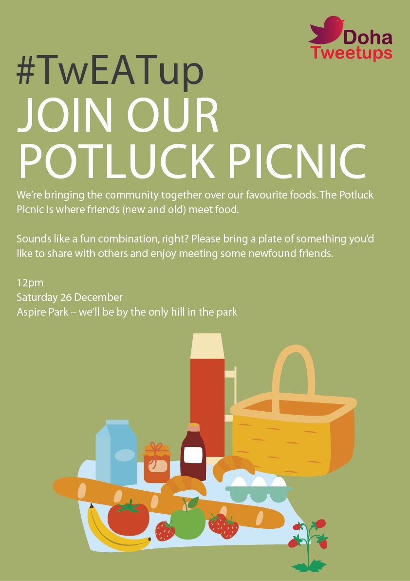 Are you tweeps ready for Potluck #TwEATup? Hope we'll see you @aspirezone Park with all your favourite dishes!