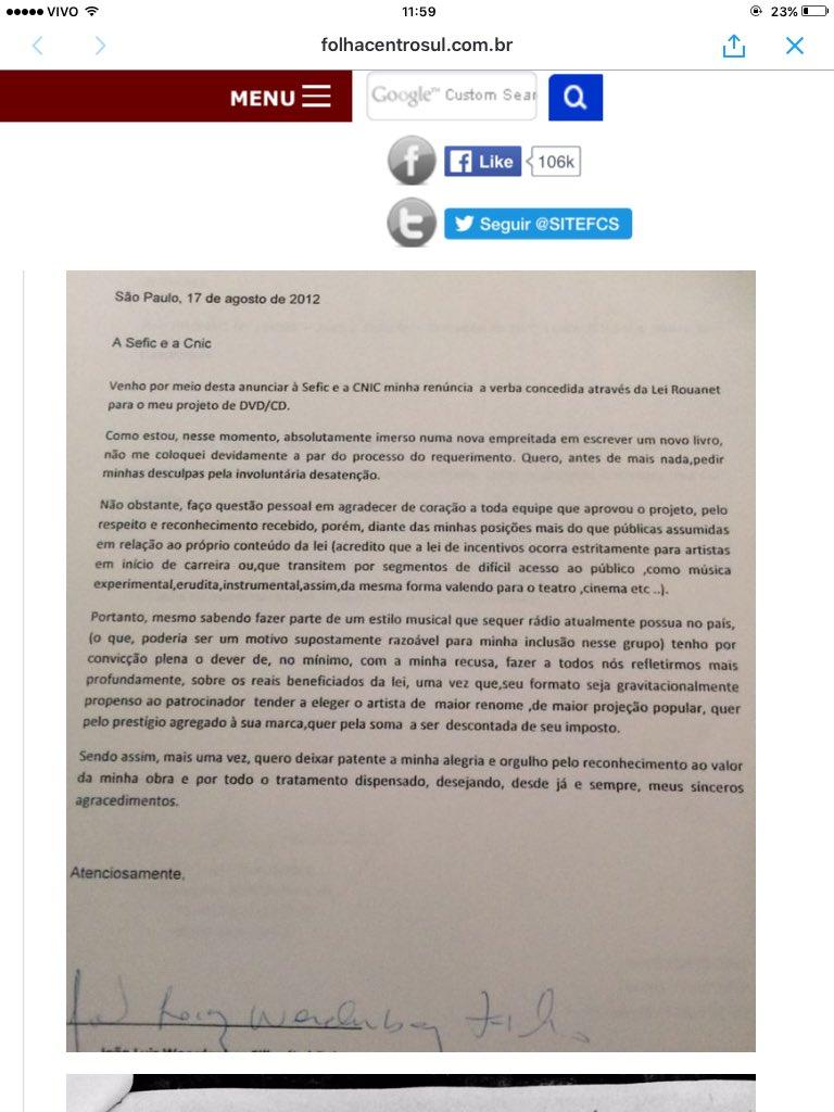 Aqui está a carta do Lobão renunciando aos benefícios da Lei Roanet, @Ticostacruz  te informa melhor,aproveitador! https://t.co/zHxZiirgeM