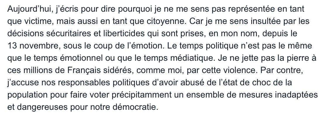 La liberté est le plus difficile des devoirs. Par Amandine, rescapée du Bataclan. https://t.co/PhHDICG4xP https://t.co/WVDQcanQVv