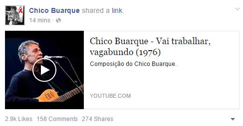 O bom de ter um repertório como o do Chico Buarque é que vc não precisa escrever textão no Facebook. https://t.co/y5hRvFL4Zk