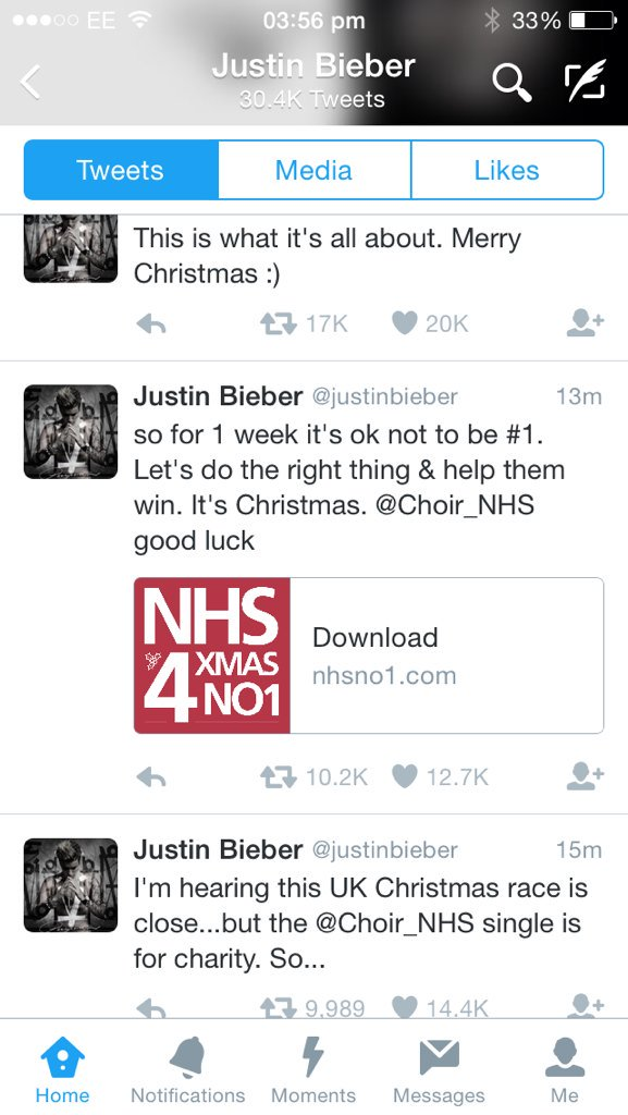 Nice one Bieber @Choir_NHS https://t.co/NQK3Tpy6XD