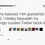 RT @cnntech: Being blocked by Marc Andreessen is the new cool https://t.co/JmfArCpCyy via @lisahopeking https://t.co/spYVOxvhve