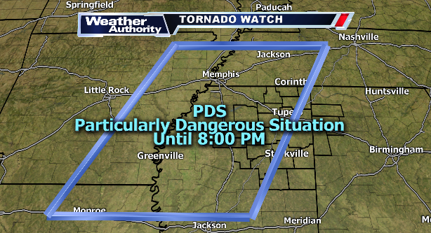 A PDS (Particularly Dangerous Situation) Tornado Watch is in effect for parts of N Miss 'til 8 PM. #mswx #alwx https://t.co/A2hDSwYYad