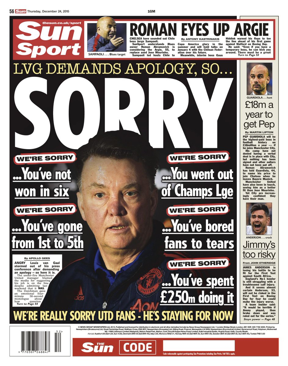 Thursday's Sun back page: Sorry #tomorrowspaperstoday #bbcpapers #mufc #LVG https://t.co/nVGKnh2Wjk