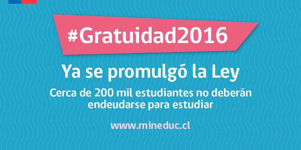 Hoy estamos haciendo historia en la educación chilena. Presidenta promulgó #Gratuidad2016 ¡Vamos por más! https://t.co/Mhma2S47uu