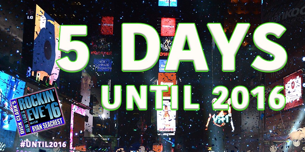RT @NYRE: 10...9...8...7...6... FIVE MORE DAYS #Until2016! ???? #RockinEve https://t.co/MbGGxUIVGU