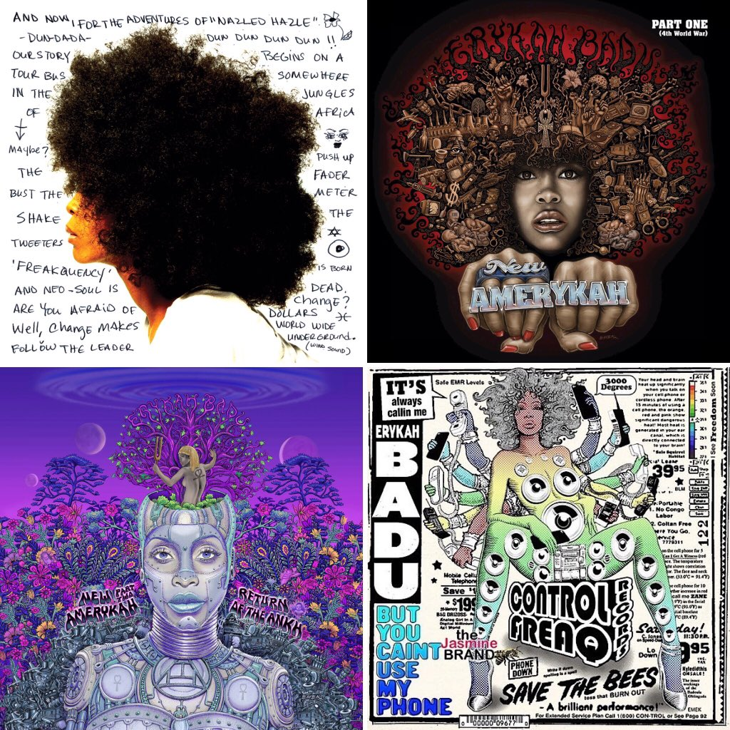 #BestBlackAlbumCovers Erykah Badu; part 1. Love how she makes technology aesthetic & protest at the same time. https://t.co/72cEC4ugCF