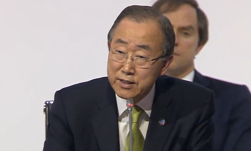 """.@UN chief Ban: """"The end is in sight. Let us finish the job. The whole world is watching"""" #ParisAgreement #COP21 https://t.co/zYJhkLQdTO"""