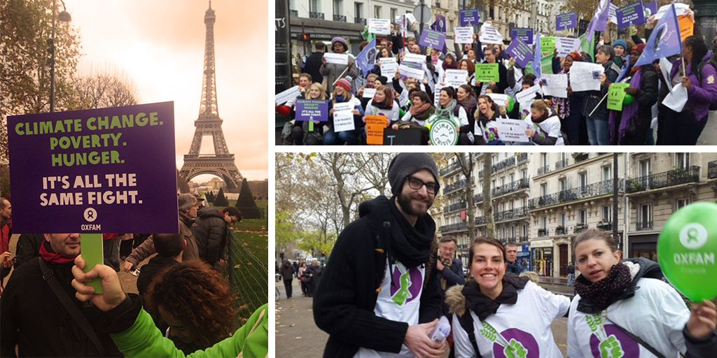 In #Paris yesterday, @Oxfam staff & volunteers show that the fight against #climatechange will go beyond #COP21 #D12 https://t.co/msjPhvJ4ON