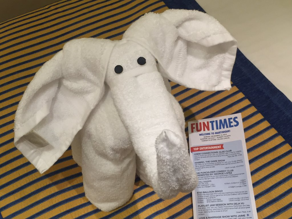Nightly display of towel brilliance on @CarnivalCruise Sunshine. #cruisechat #cruise https://t.co/H07DHIofmk
