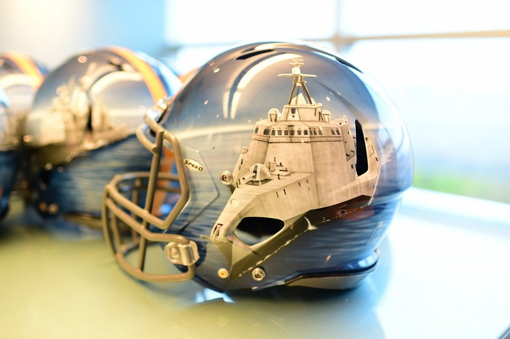 Football Helmet Painting : Navy s hand painted helmets for position groups are a