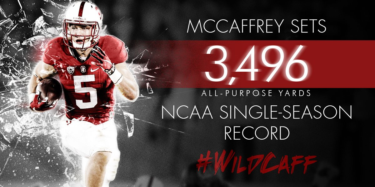 Most yards EVER by a college football player. He's earned the #Heisman. https://t.co/F4i6Y5twEQ Two hours. #WildCaff https://t.co/7jal9GZqcO
