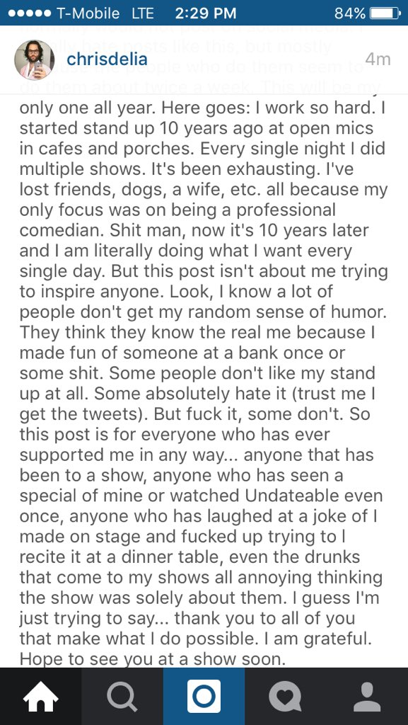 Cool post by @chrisdelia about making it in Hollywood doing standup.  And go see his show Undateable and live! https://t.co/8byDA9R1vR