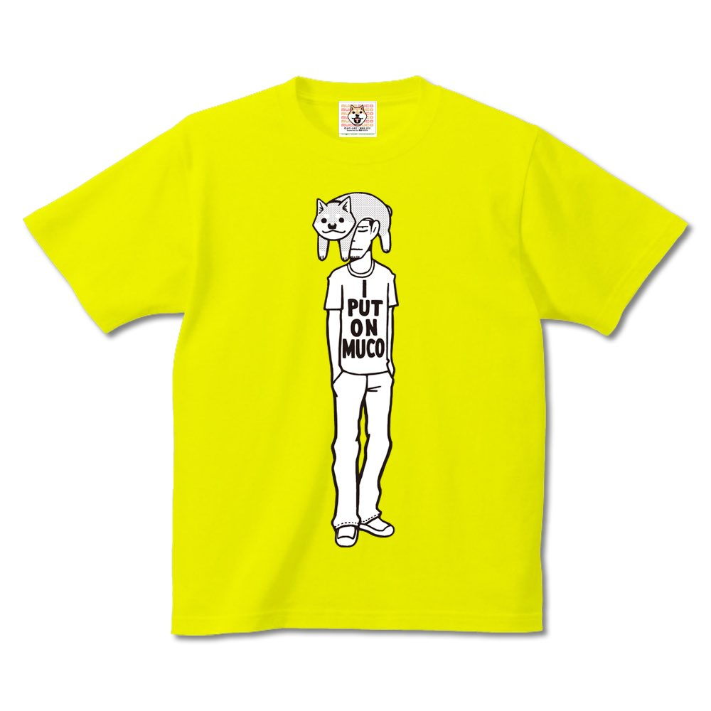 【悪意1000%Tシャツ情報】漫画「いとしのムーコ」公式Tシャツ『ムーコっかぶり』。頭の上に乗ってご機嫌のムーコと微妙な