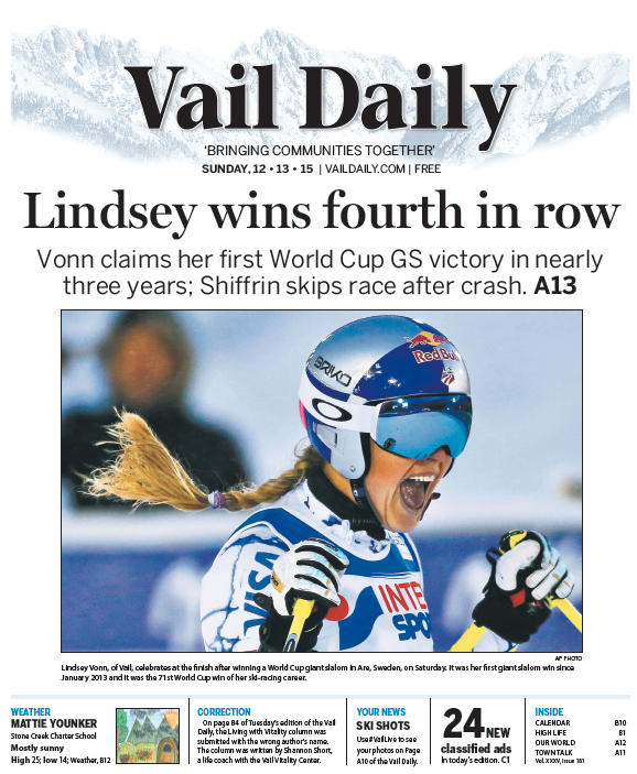 Tomorrow's Cover: @lindseyvonn wins GS World Cup in Sweden; @MikaelaShiffrin skips race after crash. https://t.co/P29VCPudaF